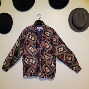Vintage silk zip-up jacket with playing card print